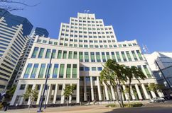 Hall of Justice, San Diego. The Hall of Justice courthouse, on Broadway, in Downtown San Diego, southern California, United States of America Royalty Free Stock Photo