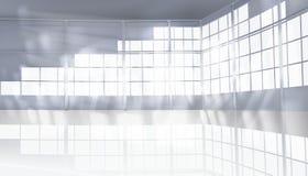 Empty hall with large window. Vector illustration. stock illustration