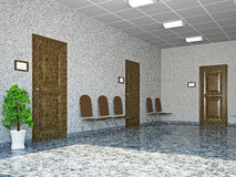 Hall with leather chairs Stock Photo