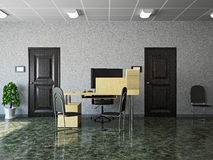 Hall with leather chairs Royalty Free Stock Images