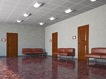 Hall with leather sofas Stock Photo