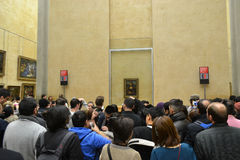 The hall in the Louvre with the Mona Lisa. Stock Photos