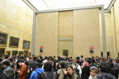 The hall in the Louvre with the Mona Lisa. Royalty Free Stock Images
