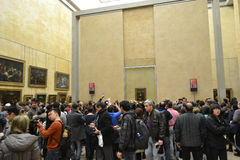 The hall in the Louvre with the Mona Lisa. Stock Photography