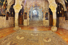 Hall is made entirely of marble. Jerusalem - September 3: Hall of the Holy Sepulchre in September 3, 2012 in Jerusalem. The hall in the Temple of the Holy Royalty Free Stock Images