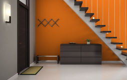 Hall med den orange väggen och trappan Arkivbild