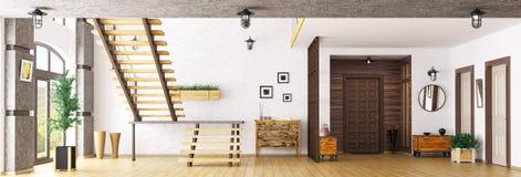 Hall med tolkningen för trappuppgång 3d Arkivbild