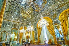 The Hall of Mirror in Golestan, Tehran. TEHRAN, IRAN - OCTOBER 11, 2017: Talar-e Aineh Hall of Mirror is one of the most beautiful in Golestan Palace, it`s Stock Photography