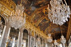 Hall of Mirrors, Chateau de Versailles. Chandeliers and mirrors, Hall of Mirrors, Chateau de Versailles royalty free stock photography