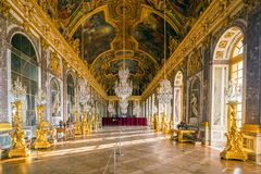 The hall of mirrors in Palace of Versailles. The hall of mirrors in the Palace of Versailles stock image
