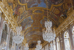 The Hall of Mirrors in the Palace of Versailles. The ceiling of the Hall of Mirrors in the Palace of Versailles stock photo