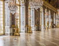 Hall of Mirrors at the Palace of Versailles. The Hall of Mirrors inside of the Palace of Versailles at France royalty free stock photography