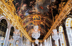 Hall of Mirrors, Versailles. The richly decorated hall of mirrors in the palace of Versailles near Paris, France stock photos