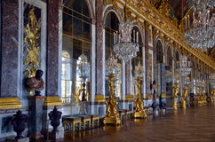 Hall of Mirrors, Versailles Palace, France. VERSAILLES, FRANCE - MAY 28, 2014: Empty hall of mirrors in the Palace of Versailles. The Versailles palace is in the stock image