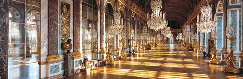 Hall of Mirrors of Versailles Palace France. Overview of the Hall of Mirrors, one of the most famous halls from Versailles Chateau stock images