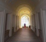 Hall mit Schritten und Fenster Stockfotos