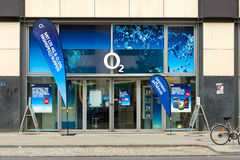 Hall of mobile operator O2 at Alexanderplatz Royalty Free Stock Photography