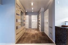 Hall in a modern apartment. Interior of a modern hall with doors Stock Photos