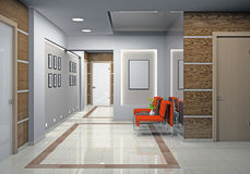 Hall a modern office. (3D Royalty Free Stock Image