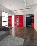 Hall modern style interior design, 3D render. Modern interior design ideas. Three dimensional rendering of hall project Stock Photos