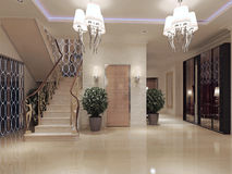 Hall neoclassical style. Hall in neoclassical style. 3d visualization Royalty Free Stock Image