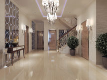 Hall neoclassical style. Hall in neoclassical style. 3d visualization Stock Photos