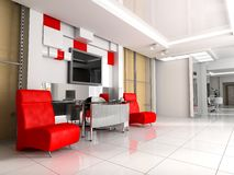 Hall at office. Modern interior of office, exclusive design Royalty Free Stock Photos