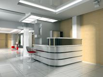Hall at office. Modern interior of office 3d Stock Image