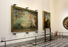 Hall with paintings by Botticelli, Uffizi Gallery, Florence Stock Photo