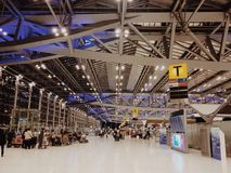 Hall for passengers. Outbound hall for passengers to check in airplane Royalty Free Stock Photo