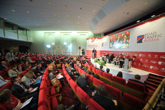 Hall with people on International Congress Road Traffic Russia Royalty Free Stock Photos
