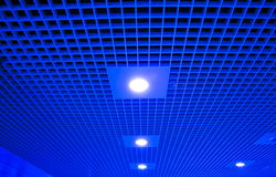Hall platform with ceilings and lights. Blue abstract hall platform and lights Stock Photography