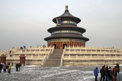 Hall of Prayer for Good Harvests at Temple of Heaven from a distance royalty free stock images