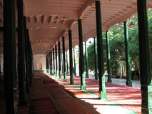 Hall of Prayer, Id Kah mosque in Kashgar China. Hall of Prayer in Id Kah mosque, Kashgar China, with green wooden pillars and red carpets Royalty Free Stock Photos