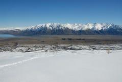 Hall Range and head of Lake Tekapo, New Zeland Stock Images