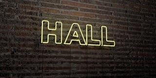 HALL - Realistyczny Neonowy znak na ściana z cegieł tle - 3D odpłacający się królewskość bezpłatny akcyjny wizerunek Ilustracja Wektor