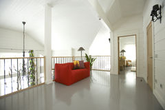 Hall red sofa. Hall in the house with red sofa Stock Photo