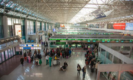 The hall of registration at the airport of Rome. Royalty Free Stock Photography