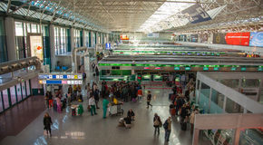 The hall of registration at the airport of Rome. Royalty Free Stock Image