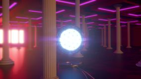 Hall with shining sphere and columns, looped animation stock footage