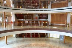 Hall of ship. Interior of cruise ship Stock Photography