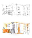 Hall sketch with pencil in black and white and in color Royalty Free Stock Image
