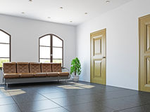 Hall with the sofa near the windows Stock Photos