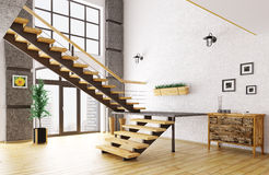Hall with staircase interior 3d rendering Royalty Free Stock Photo