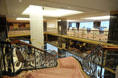 Hall, stairs and a large chandelier in hotel Lotte Royalty Free Stock Images
