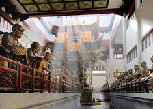 Hall with statues at Lingyin Temple Stock Image