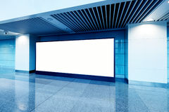 Hall subway station blank billboard. Blank billboard in metro station royalty free stock images