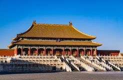 Hall of Supreme Harmony in Forbidden City. The hall of supreme harmony in forbidden city. The forbidden city was the Chinese imperial palace from the Ming stock photos
