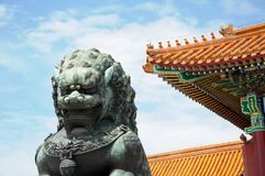 Chinese Guardian Lion. Gate of Supreme Harmony. Taihemen. Forbidden City. Gugong. The Guardian Lion is regarded as a symbol of guardian and protection in Chinese stock photos