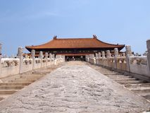 Hall of Supreme Harmony. Superior roof of the hall of supreme harmony in the fobidden city,the palace museum,beijing,china.High up on top of the steps Stock Image